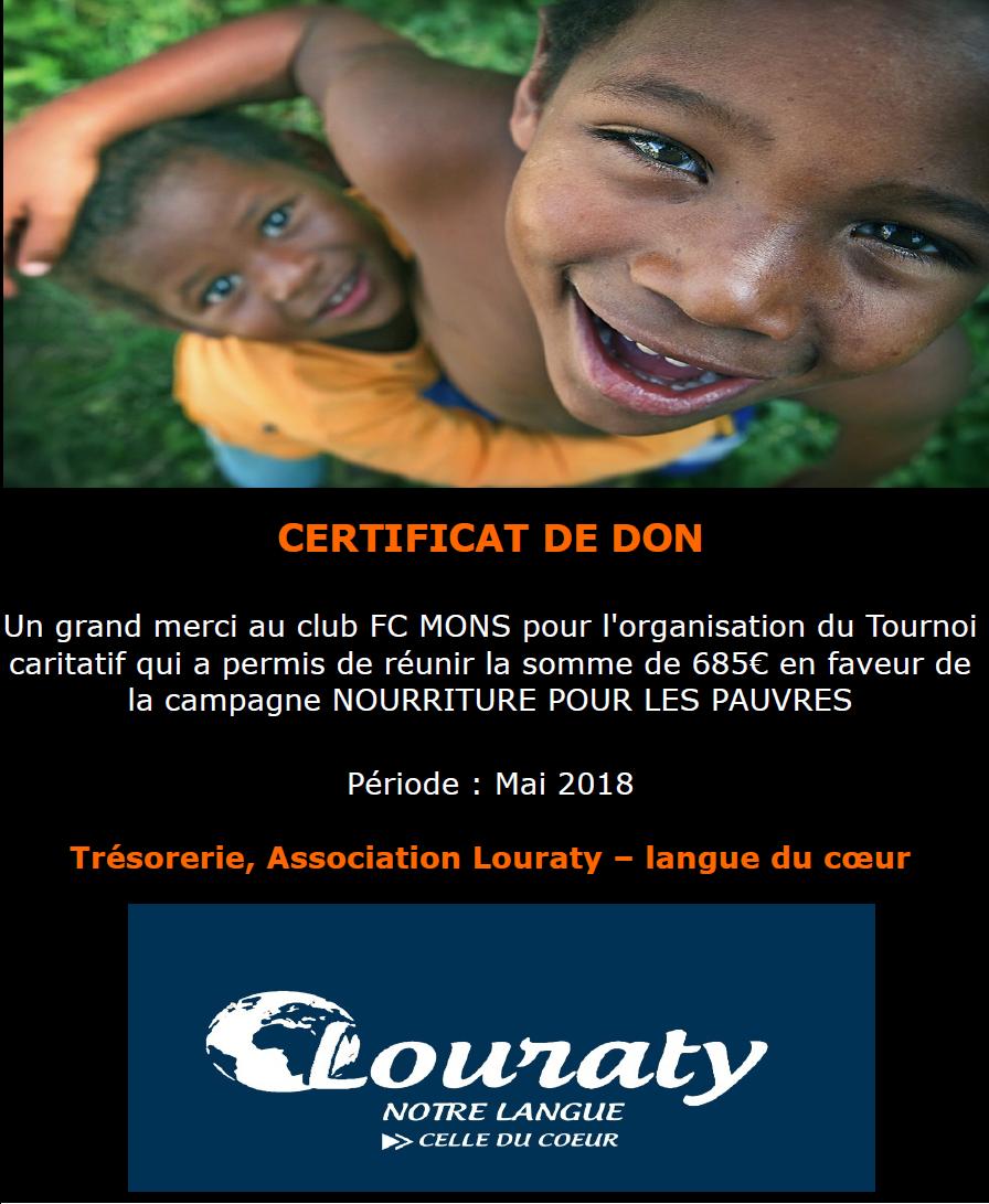 Campagne caritative 2018 - LOURATY - NOURRITURE POUR LES PAUVRES